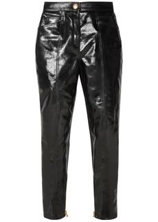 Balmain Woman Coated Cotton-blend Slim-leg Pants Black