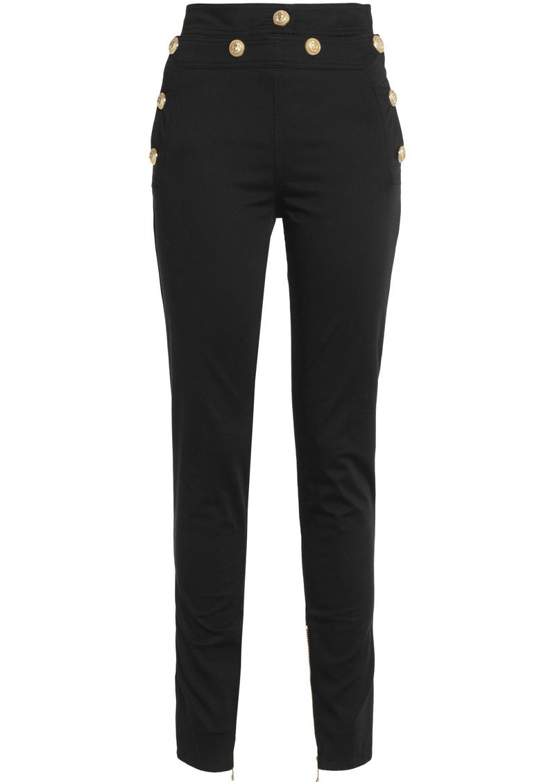 Balmain Woman Cotton-blend Skinny Pants Black