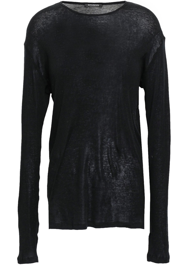 Balmain Woman Cotton-jersey Top Black
