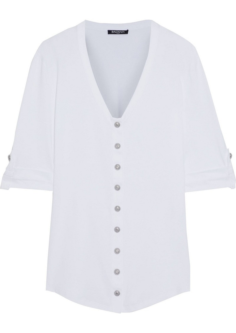 Balmain Woman Cotton-jersey Top White