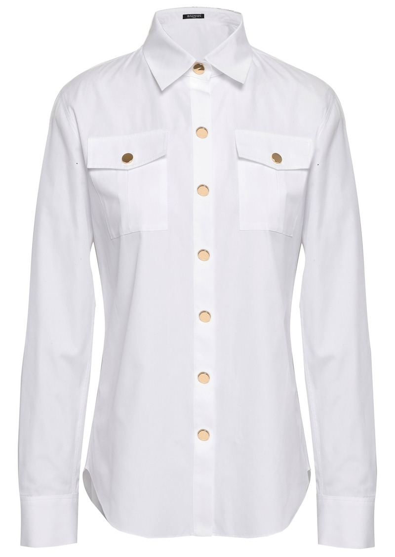 Balmain Woman Cotton-poplin Shirt White