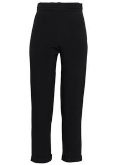 Balmain Woman Cropped Crepe Tapered Pants Black