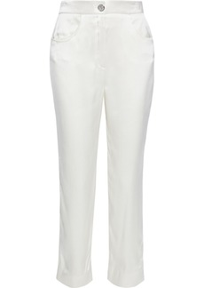 Balmain Woman Crinkled Silk-satin Straight-leg Pants White