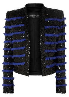 Balmain Woman Cropped Fringed Sequined Tweed Jacket Black