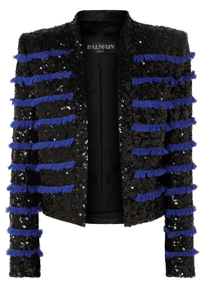 Balmain Woman Cropped Fringed Sequined Woven Jacket Black