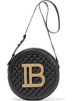 Balmain Woman Disco Large Logo-embellished Quilted Leather Shoulder Bag Black