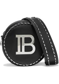 Balmain Woman Disco Mini Logo-embellished Studded Leather Shoulder Bag Black