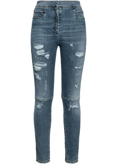 Balmain Woman Distressed High-rise Skinny Jeans Light Denim