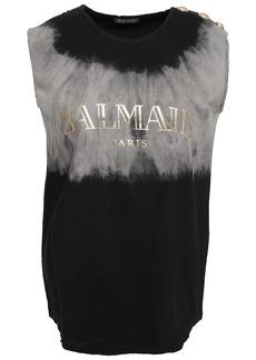 Balmain Woman Distressed Printed Tie-dyed Cotton-jersey Tank Black
