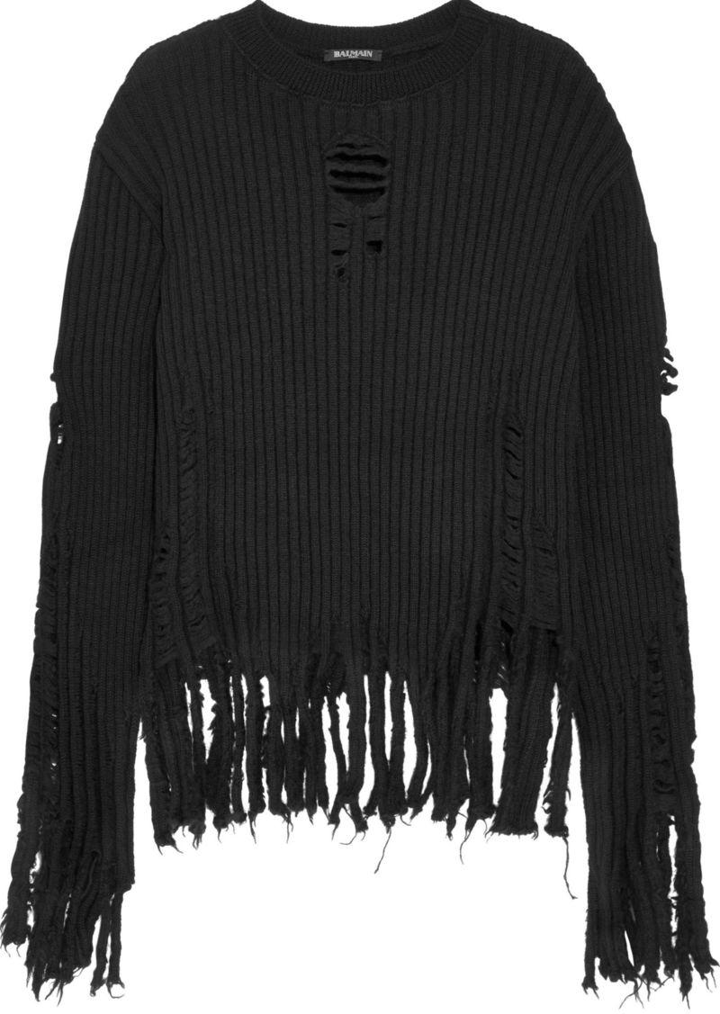 Balmain Woman Distressed Ribbed Wool Sweater Black
