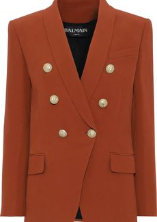 Balmain Woman Double-breasted Crepe Blazer Tan
