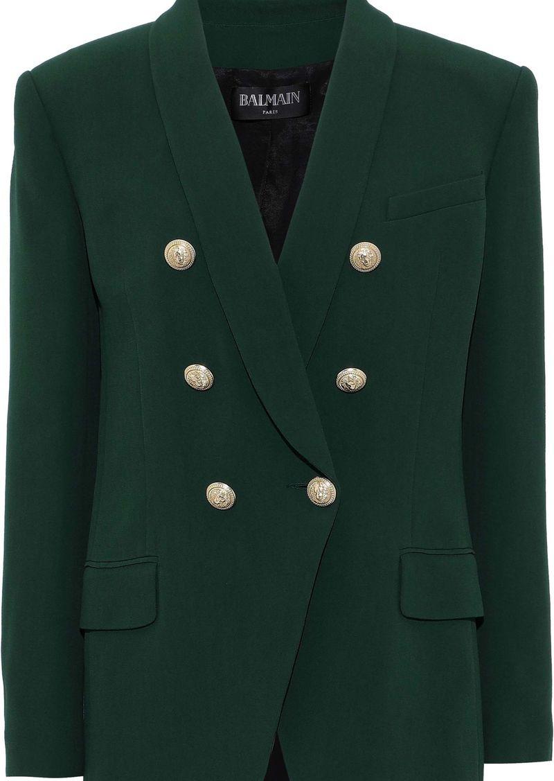 Balmain Woman Double-breasted Crepe Blazer Emerald