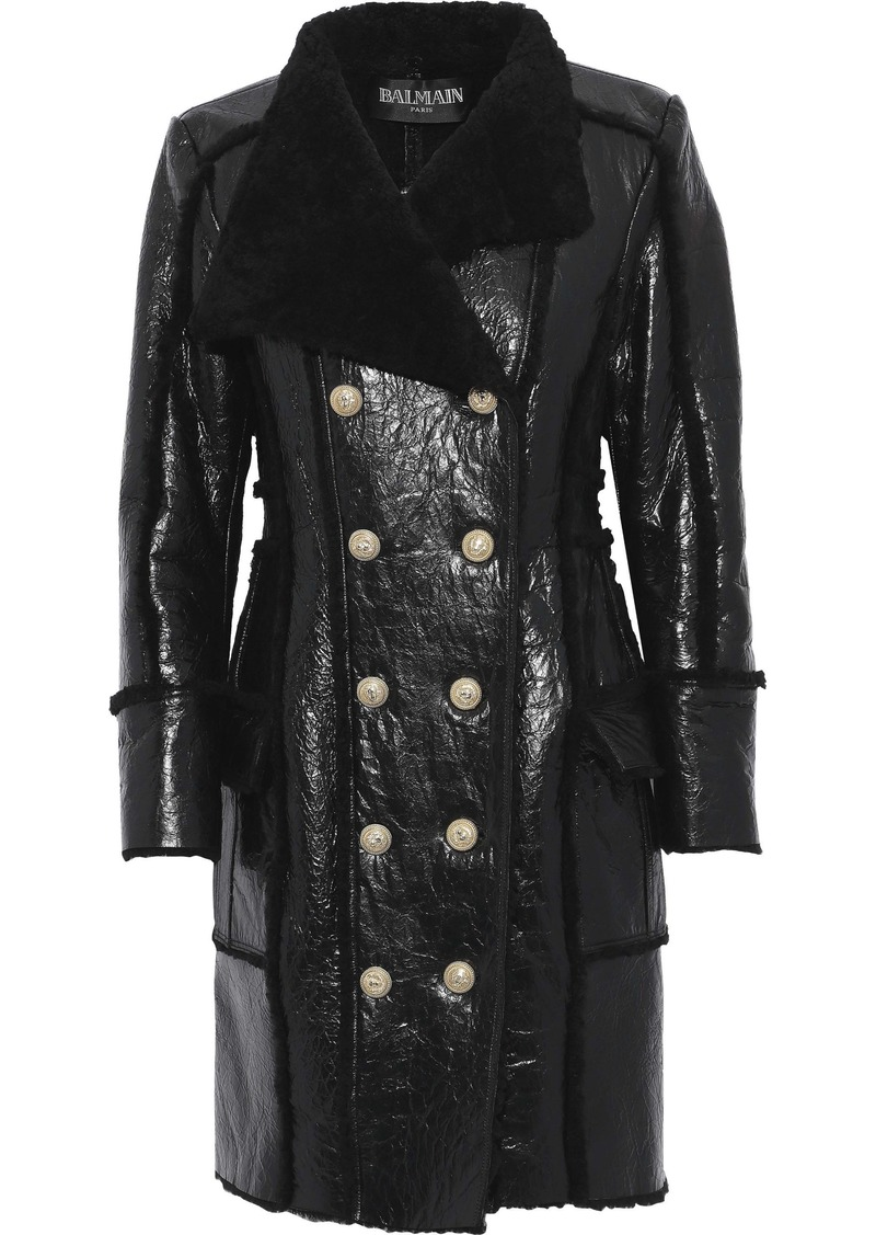 Balmain Woman Double-breasted Shearling And Glossed Cracked-leather Coat Black
