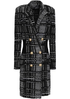 Balmain Woman Double-breasted Tweed Coat Black