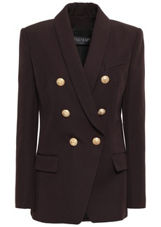 Balmain Woman Double-breasted Wool-twill Blazer Chocolate