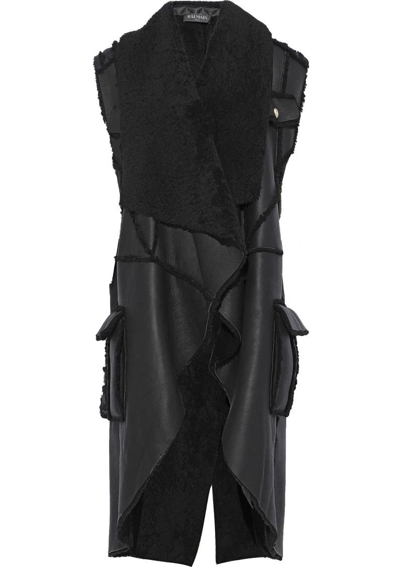 Balmain Woman Draped Shearling Vest Black