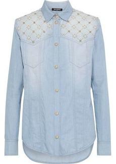 Balmain Woman Embellished Denim Shirt Light Blue