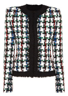 Balmain Woman Frayed Checked Tweed Jacket White