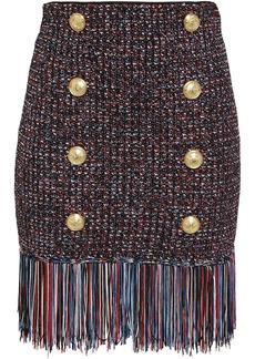 Balmain Woman Fringe-trimmed Button-embellished Marled Bouclé-knit Mini Skirt Black