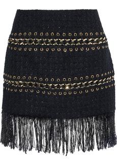 Balmain Woman Fringe-trimmed Embellished Metallic Tweed Mini Skirt Black
