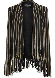 Balmain Woman Fringed Chain-trimmed Cotton-blend Jacket Black