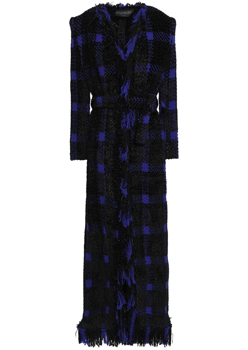 Balmain Woman Fringed Checked Wool-blend Tweed Coat Indigo