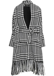 Balmain Woman Fringed Houndstooth Wool-blend Coat Black
