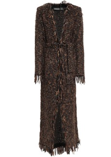 Balmain Woman Fringed Metallic Bouclé-knit Cardigan Brown