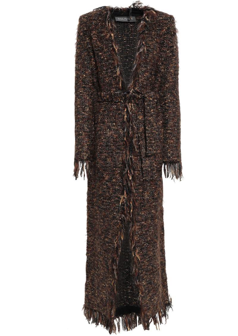Balmain Woman Fringed Metallic Bouclé-knit Cardigan Brown