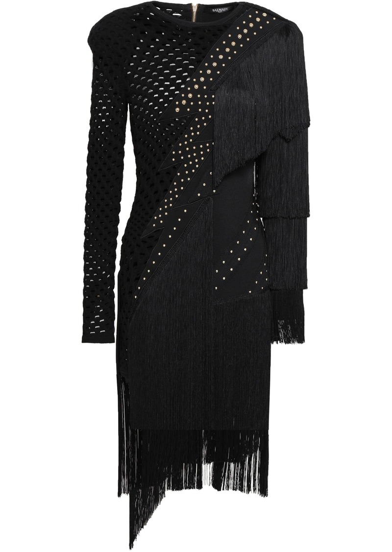 Balmain Woman Fringed Studded Laser-cut Ponte Dress Black