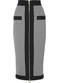 Balmain Woman Houndstooth Stretch-knit Midi Pencil Skirt Black