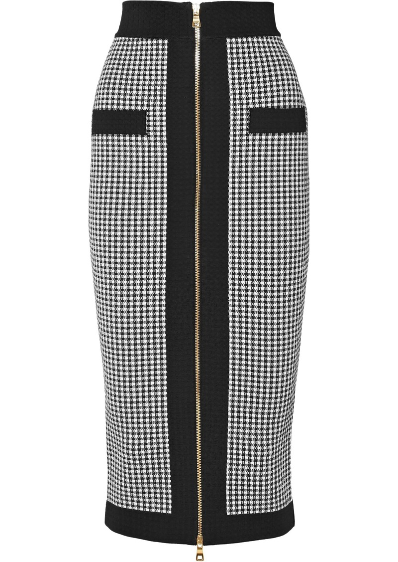 Balmain Woman Houndstooth Stretch-knit Midi Pencil Skirt Black