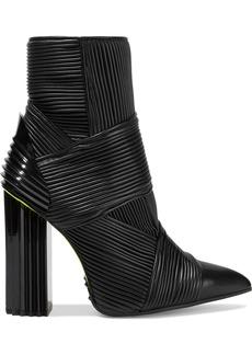 Balmain Woman Irina Pleated Leather Ankle Boots Black