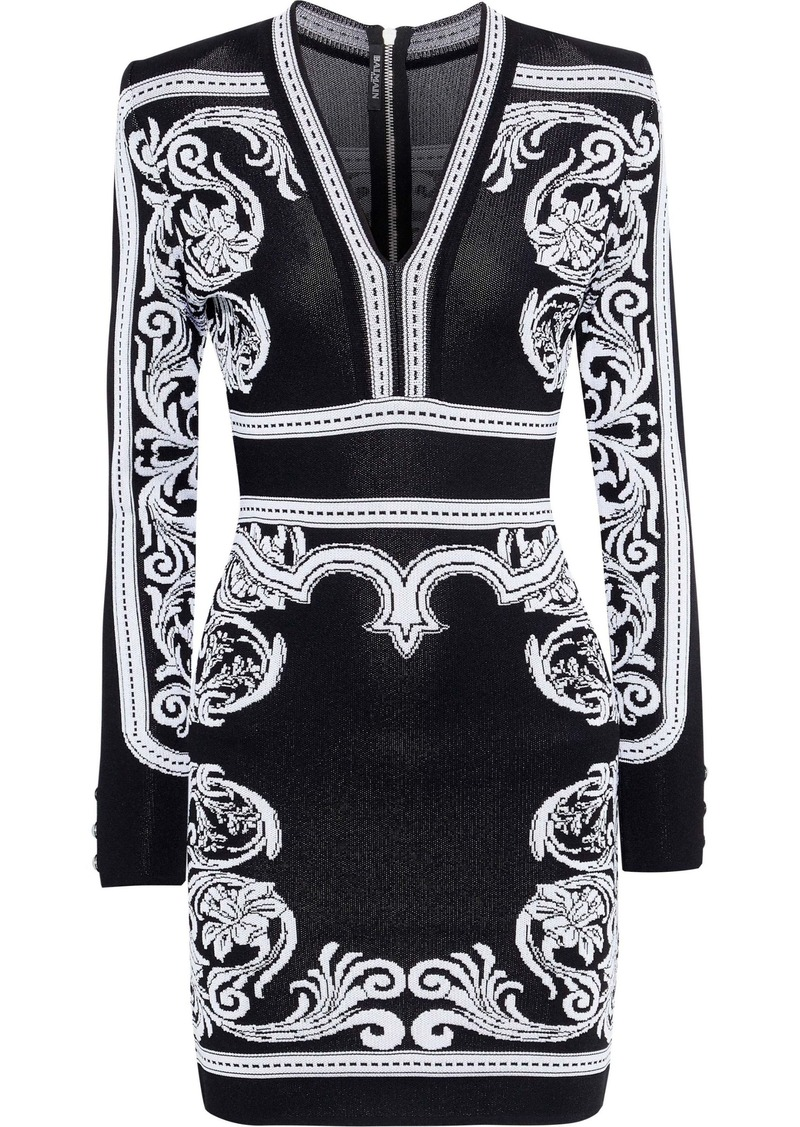 Balmain Woman Jacquard-knit Mini Dress Black