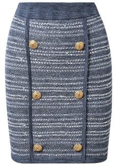 Balmain Woman Jersey-trimmed Button-embellished Tweed Mini Skirt Blue