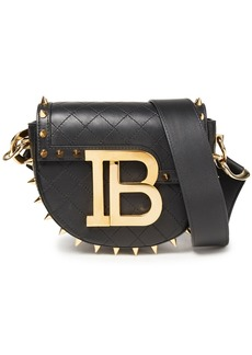 Balmain Woman Jumper Small Spiked Quilted Leather Shoulder Bag Black
