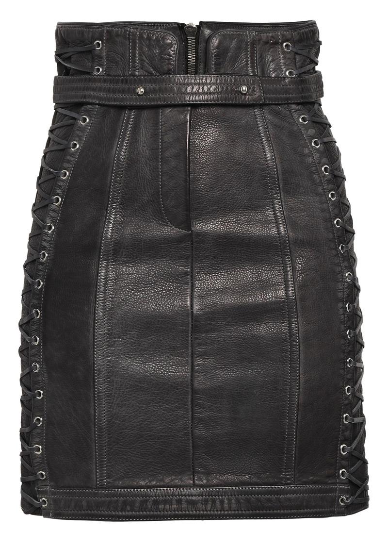 Balmain Woman Lace-up Pebbled-leather Mini Skirt Black