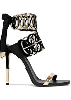 Balmain Woman Laser-cut Mirrored-leather And Suede Sandals Black