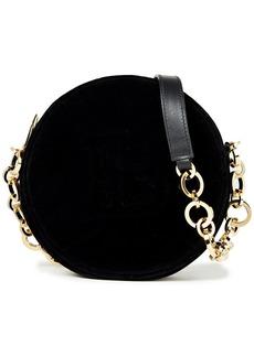 Balmain Woman Disco Leather-trimmed Velvet Shoulder Bag Black