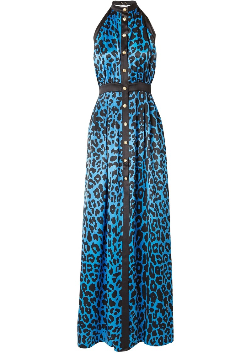 Balmain Woman Leopard-print Silk-satin Halterneck Maxi Dress Azure