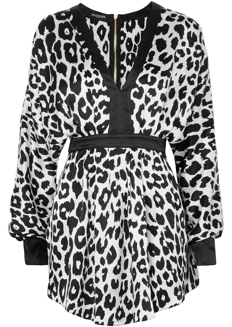 Balmain Woman Leopard-print Silk-satin Mini Dress White