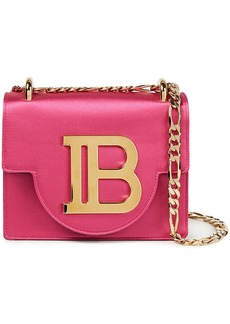 Balmain Woman B Bag Logo-embellished Leather-paneled Satin Shoulder Bag Fuchsia