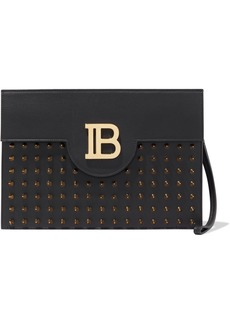 Balmain Woman Logo-embellished Studded Leather Clutch Black