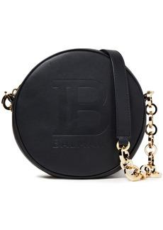 Balmain Woman Disco Logo-embossed Leather Shoulder Bag Black