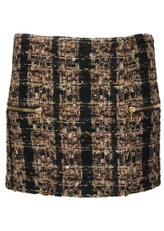 Balmain Woman Metallic Bouclé-tweed Mini Skirt Sand
