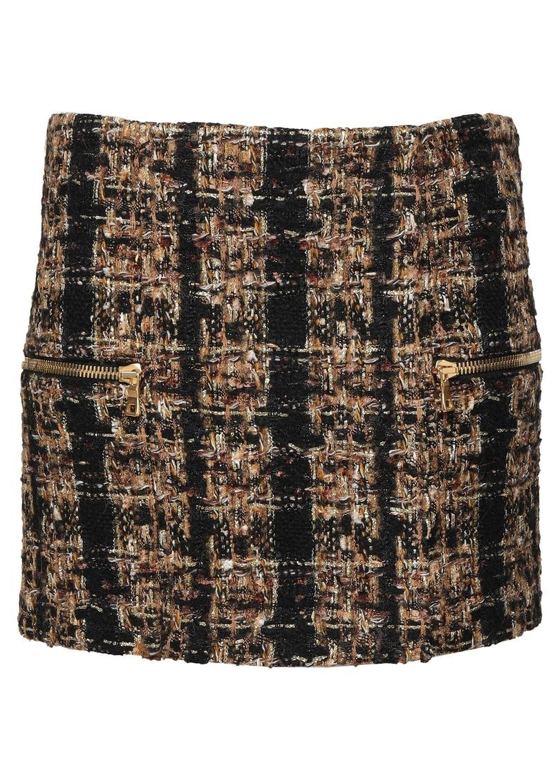 Balmain Woman Metallic Bouclé-tweed Mini Skirt Sand