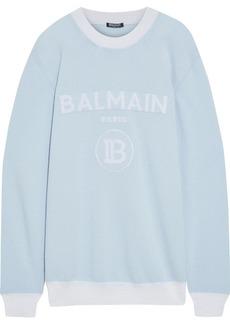 Balmain Woman Metallic Jacquard-knit Wool-blend Sweater Sky Blue