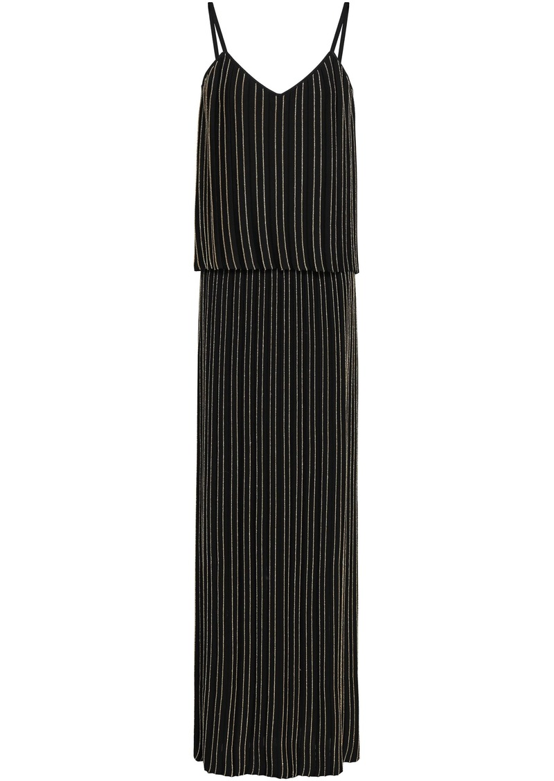 Balmain Woman Layered Metallic Striped Stretch-knit Maxi Dress Black