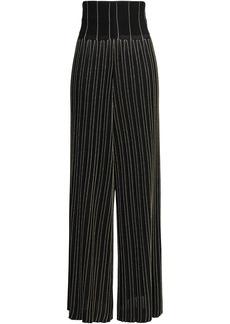 Balmain Woman Pleated Metallic Striped Stretch-knit Wide-leg Pants Black