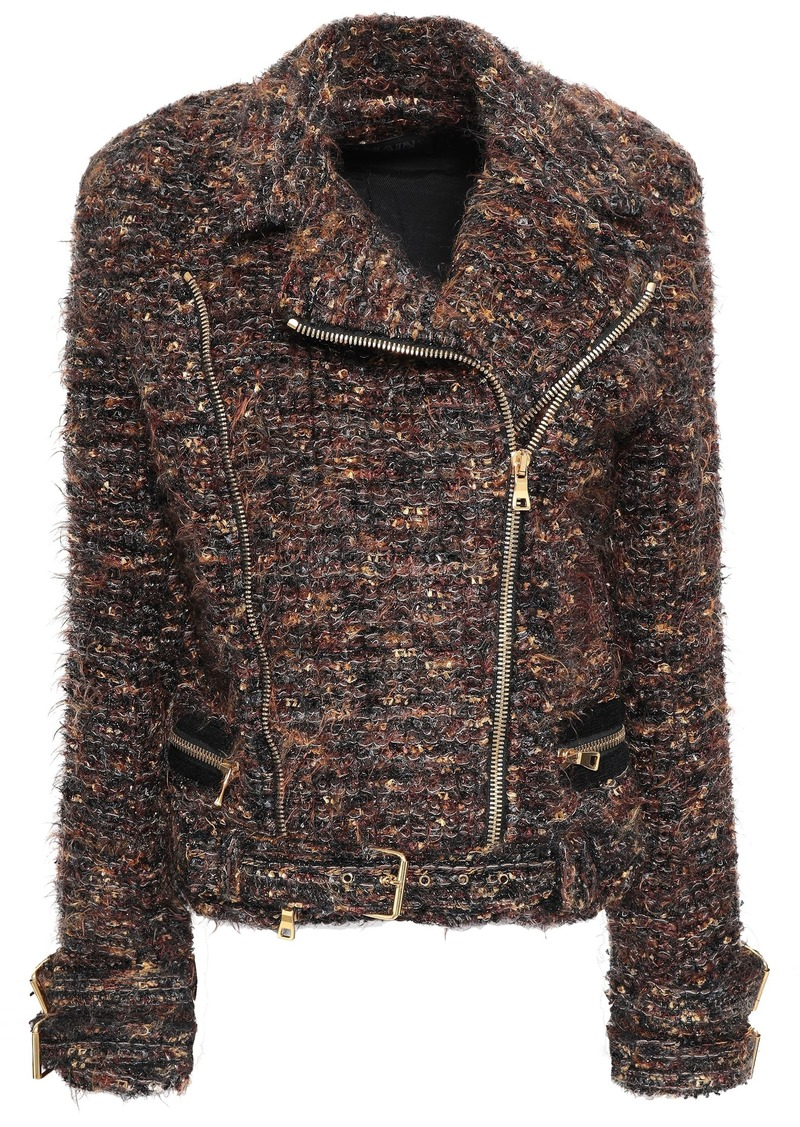 Balmain Woman Metallic Tweed Biker Jacket Brown